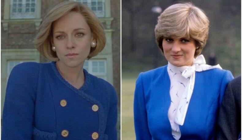 Colaj Kristen Stewart în filmul Spencer și Prințesa Diana când și-a anunțat logodna. Amândouă poartă haine albastre. A fost nevoie de o perucă pentru a detalia cum s-a transformat Kristenn Stewart în Prințesa Diana